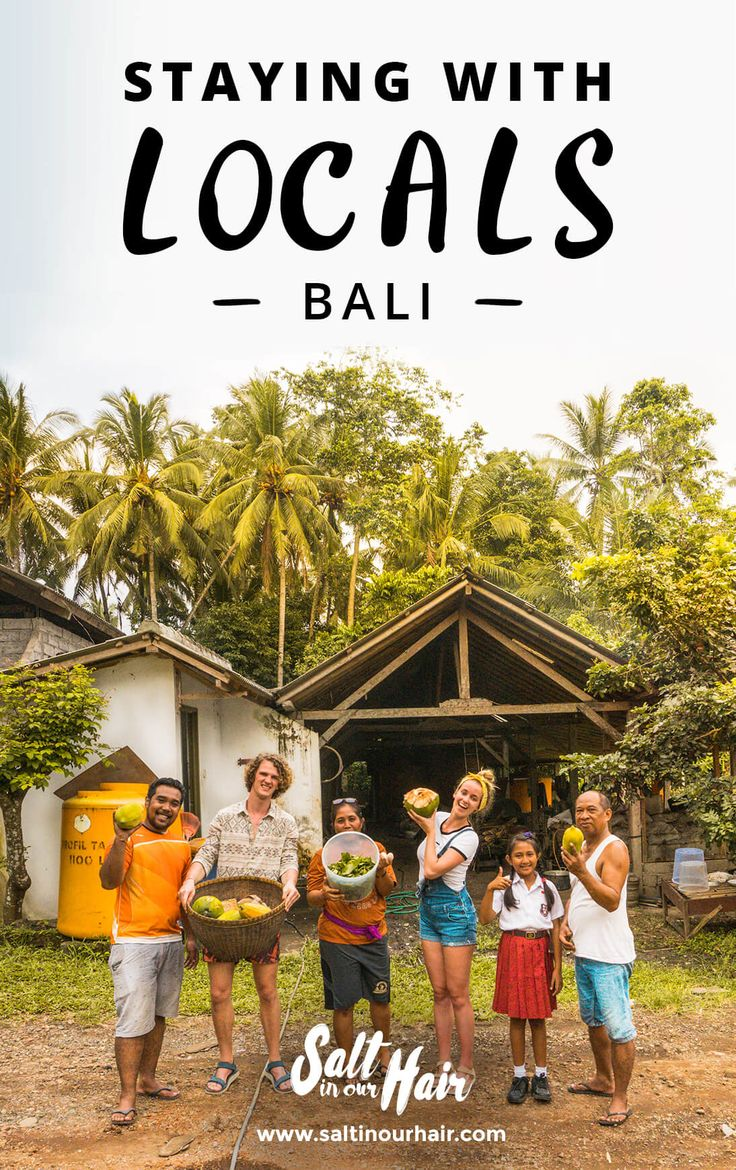 Our blog about Staying with locals on Bali, Indonesia. One of the best experience we have had while traveling! #travel #traveling #indonesia #bali #staying #with #locals #farm #ricefields #palm #trees #coconut #experience #best #things #to #do #family #backpack #backpacking #blog #saltinourhair