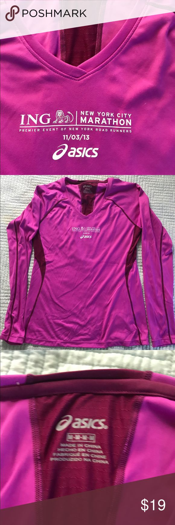 Asics Long Sleeve Top NYC Marathon 2013 logo Worn once and washed Asics running/workout too NYC 2013 Marathon logo Asics Tops Tees - Long Sleeve