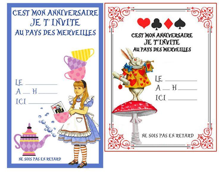 Invitation alice anniversaire alice au pays des - Anniversaire alice au pays des merveilles ...
