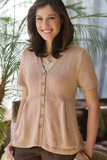 Free Knitting Pattern for Emily Sweater - Lorna Miser designed this short-sleeved cardigan with a flattering shape. This versatile style can be worn alone, as a jacket over a dress, or layered over a sweater. Sizes S,M,L,1X,2X