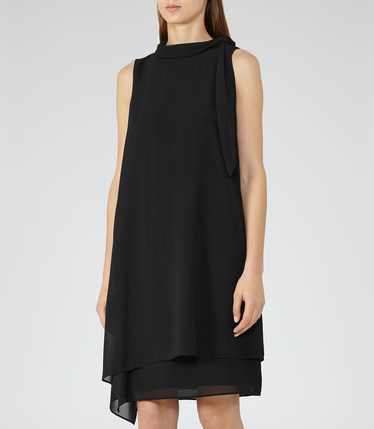 Womens Black Tie-neck Dress - Reiss Aries