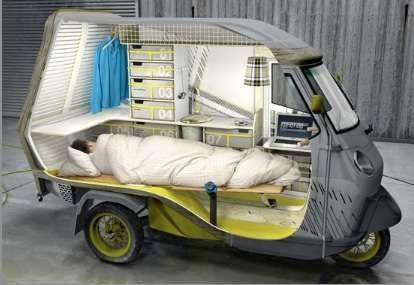 Unbelievable. Tiny bedroom car.
