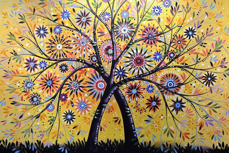 Abstract Modern Flowers Garden Art ... Flowering Tree Painting