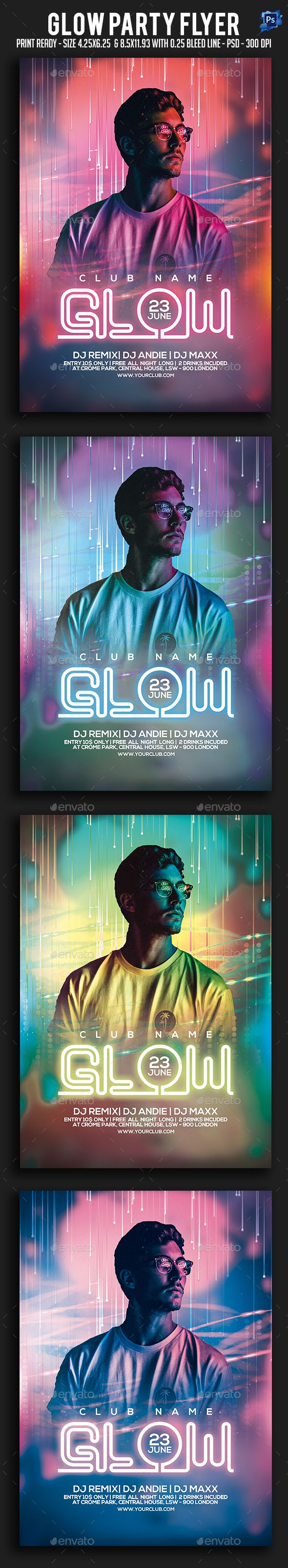 #Glow #Party #Flyer - Clubs & Parties Events