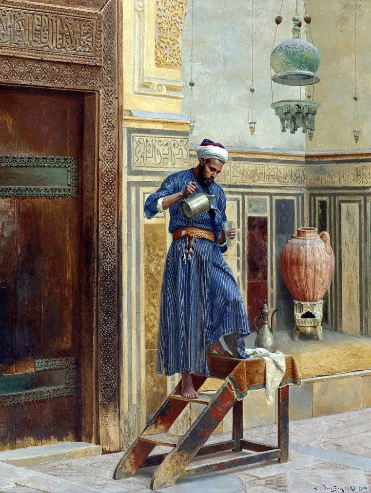 The Lamplighter , Cairo 1900  By Ludwig Deutsch - Austrian ,1855 - 1935  Oil on canvas , 56.5 x 43.8 cm