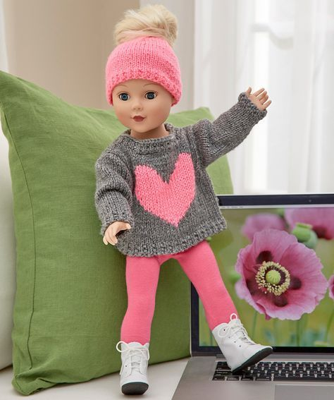 Love My Doll Sweater & Messy Bun Hat | Red Heart