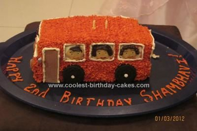 Homemade Wheels on the Bus Cake: This wheels on the bus cake was made for my 2 year old girl who loves the nursery rhyme Wheels on the bus go round and round. The cake was easy enough