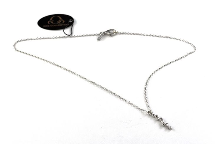 Shop on-line in www.eosbijoux.com  collana in argento, silver necklace, finitura rodio bianco, collana pendente, pendant necklace, oval shaped, silver chain, zircon, fashion jewelry, medium necklace, elegant jewel, dainty necklace