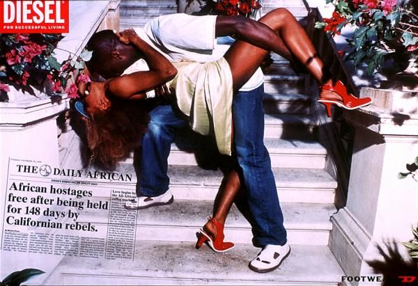 "The Daily African ad campaign for Diesel Clothing, 2001.  Agency: DDB Stockholm. ""AFRICAN HOSTAGES FREE AFTER BEING HELD FOR 148 DAYS BY CALIFORNIAN REBELS"""