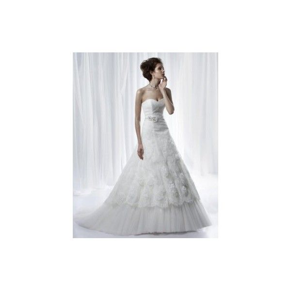 Beautiful Strapless A-line Taffeta cheap Designer Anjolique Wedding Dress Style ANWD090563. #Aline, #Strapless, #Ivory, #Ruched, #Lace, #Wedding, #Gown, #Dress, #Bridal. Only $250.00