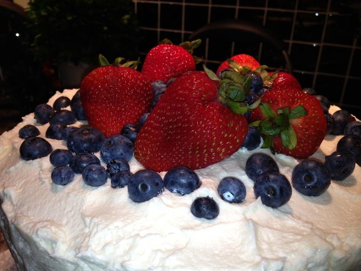 Red, White and Blue Red Velvet Cake - July 4th