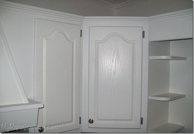 how i painted my oak cabinets, doors, kitchen cabinets, kitchen design, painting, After several coats of primer and semi gloss paint
