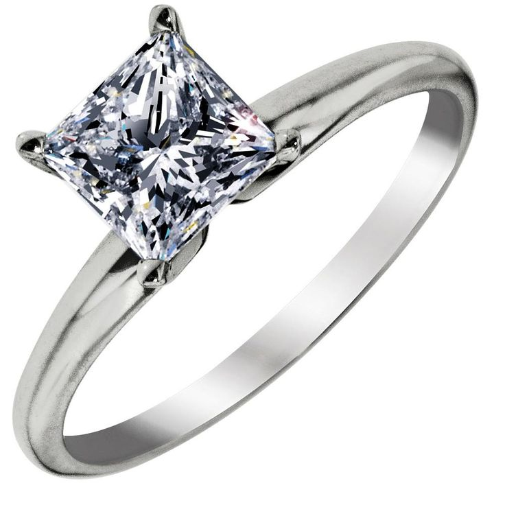 Awesome Northern Star Princess Cut Diamond Solitaire Ring in White Gold