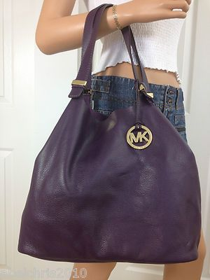 Michael Kors Large Purple Grab Leather Colgate Handbag Tote Bag Purse