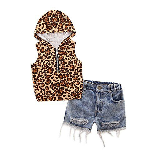 91cf3a31e72d Children and Young. TIFENNY Girl Hooded Leopard Print T-Shirt Top Denim Short  Pants Clothes Set
