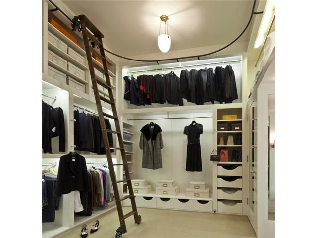 Awesome closet with library ladder!  Austin Tx home, available at Rockler Woodworking stores
