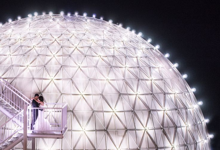 Atlantis Pavillions bride and groom in front of geodesic dome