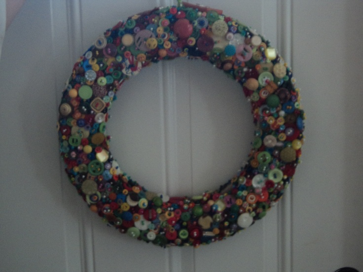This picture doesn't do it justice but this is a button wreath for my mom for mother's day.Mothers Day, Buttons Wreaths