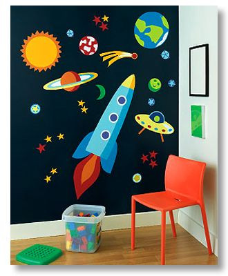 Kids Out of this World space wall pre-pasted mural set by Olive Kids!