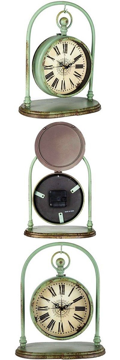 Desk Mantel and Shelf Clocks 175753: Rustic Green Hanging Metal Table Clock On Arch, Stunning Home Decor. New -> BUY IT NOW ONLY: $31.49 on eBay!