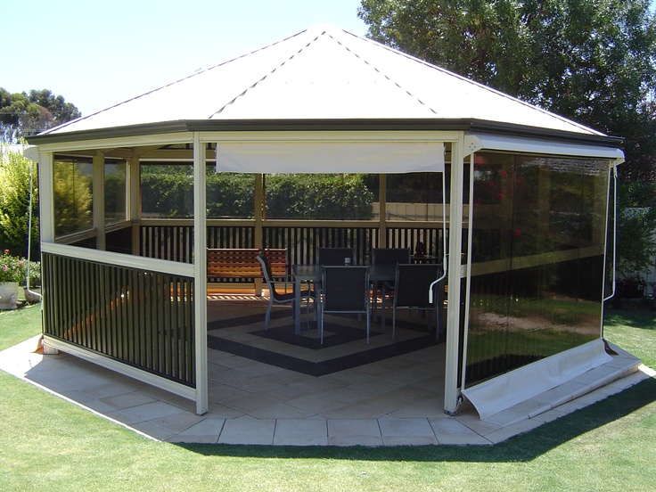 This gazebo can be enjoyed at any time. The protection of the outdoor blinds means the UV rays are deterred and the cooler evening winds are kept at bay. Enjoy entertaining in summer and winter with cafe blinds, shade blinds or PVC blinds!