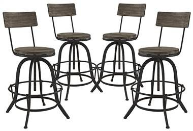 Extra Tall Bar Stool in Brown Finish - Set of 4
