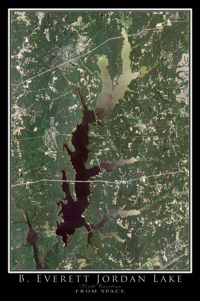 Jordan Lake North Carolina Satellite Poster Map