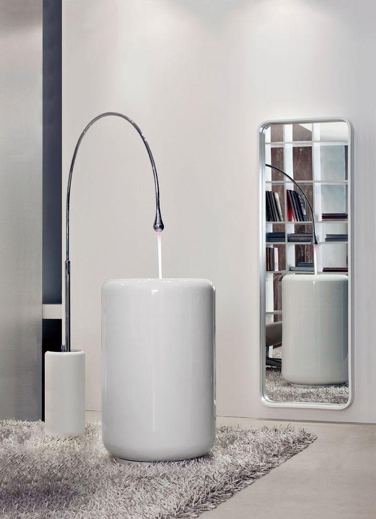Gessi's Goccia freestanding basin mixer makes the prefect statments piece in a #cuttingedge #bathroom. #bathroominspiration