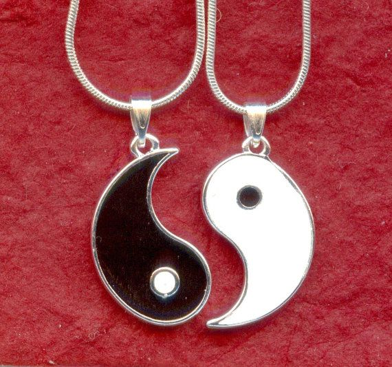 YIN YANG Silver Plated NECKLACES to share with your best friend on Etsy, $16.95