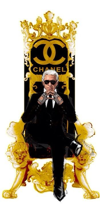 Drawing of Karl Lagerfeld, his most honored and revered Emperor of Chanel Couture | Haute Tramp