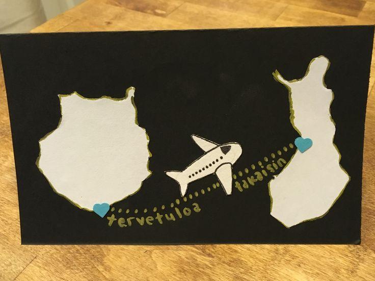 Tervetuloa takaisin, kortti,  Welcome back, card, diy, vacation, gran canaria, finland, plane