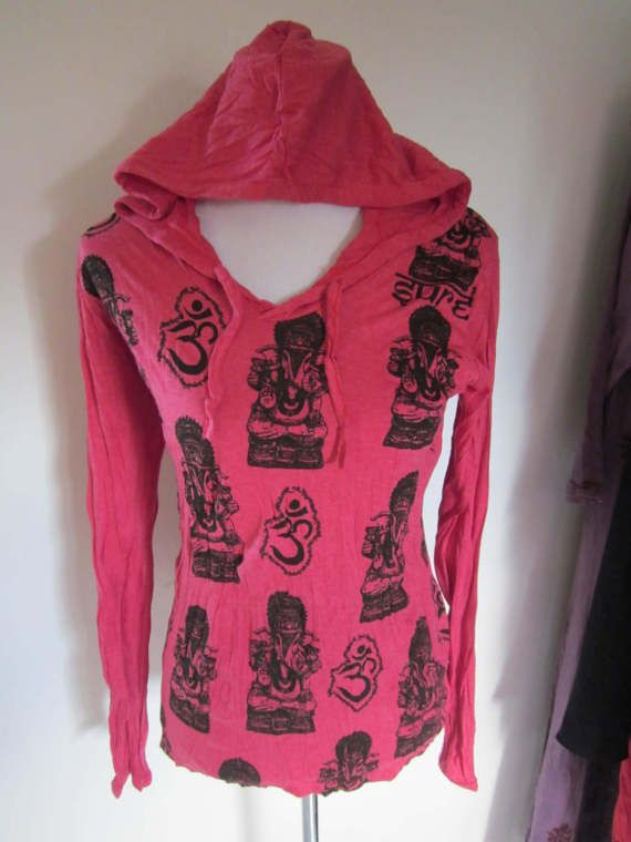 GANESHA & OM     Hooded Cotton Top by isoleynz on Etsy