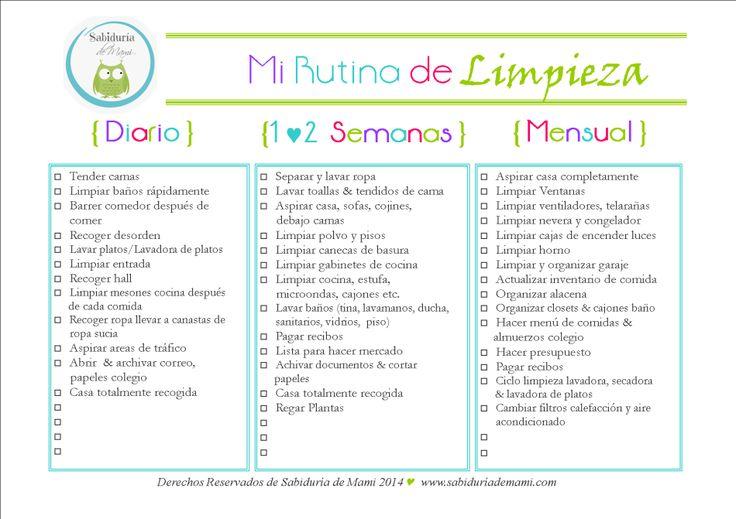 Sabiduría de Mami   Rutina de Limpieza Actualizada   http://www.sabiduriademami.com