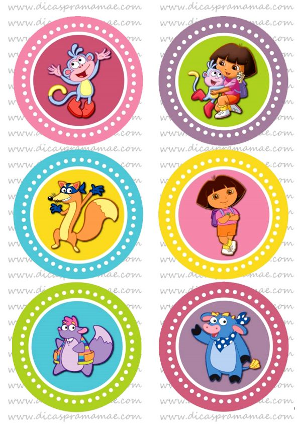 Convites de festa e tags da Dora Aventureira - Dicas pra Mamãe