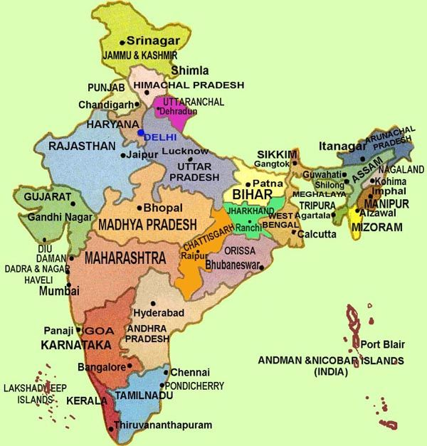 current map of india 2014 with states and cities all the