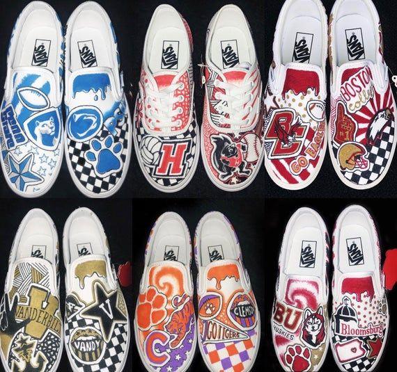 Any School Custom College Sneakers Etsy College Shoes Custom Painted Shoes Painted Shoes Diy
