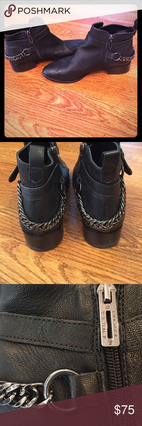 Flash Sale✨ Ivanka Trump Black Leather Ankle Boots Adorable Ivanka Trump black leather ankle boots with chain and buckle details. Size 8.5. Gently used, great condition. Price firm. Ivanka Trump Shoes Ankle Boots & Booties