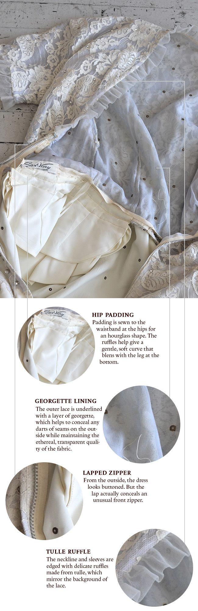 Construction details of a 1920s lace dress