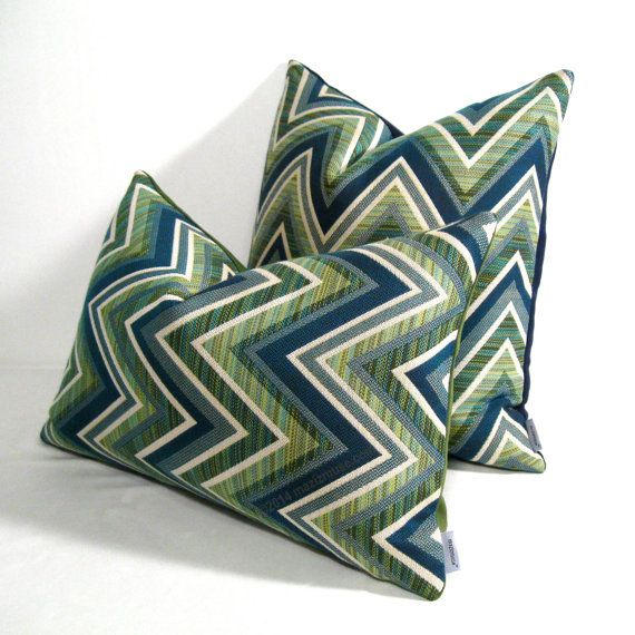 Modern Blue Outdoor Pillows : Green Chevron Outdoor Pillow Cover, Modern Pillow Cover, Decorative Pillow Cover, Geometric ...