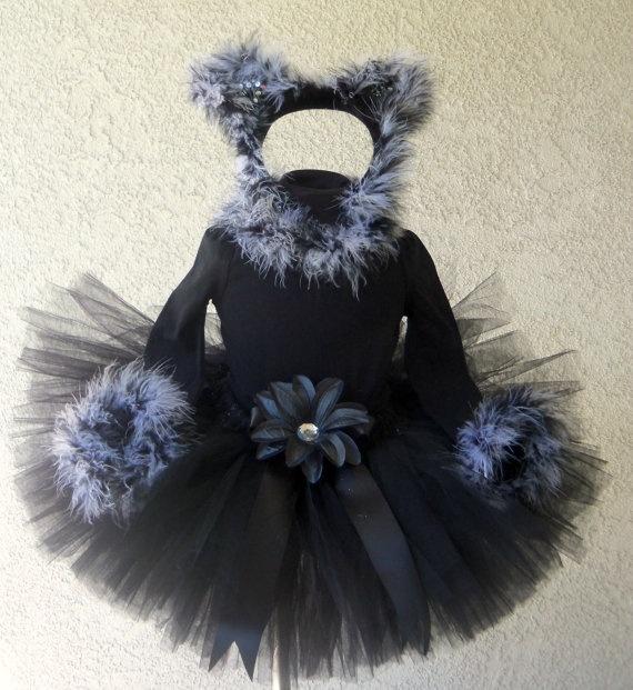 Gray -Black Cat Halloween Costume- custom sewn up to size 6x. $70.00, via Etsy.