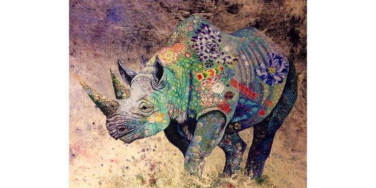 Black rhino III | Sophie Standing Art | Textile embroidery art from Africa