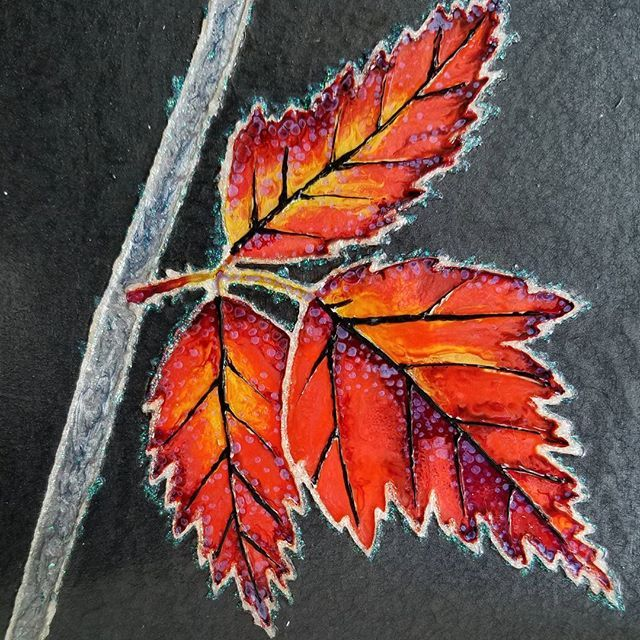 """Frosted leaves of autumn  With Pebeo on wood panel 6"""" x 6"""" . . . #autumn #leaves #frost #autumnbeauty #fineart #abstraction #abstractart #mixedmedia #pebeo #beauty #finishedpiece"""