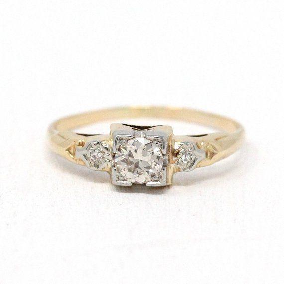 Gorgeous Vintage 14k Yellow White Gold Diamond Engagemen Diamond Engagement Rings Vintage Beautiful Engagement Rings Vintage Antique Diamond Engagement Rings