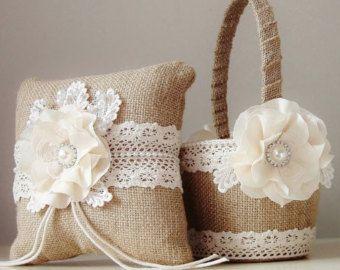 Ragazza cesto di fiori portatore cuscino anello di bouquets4love