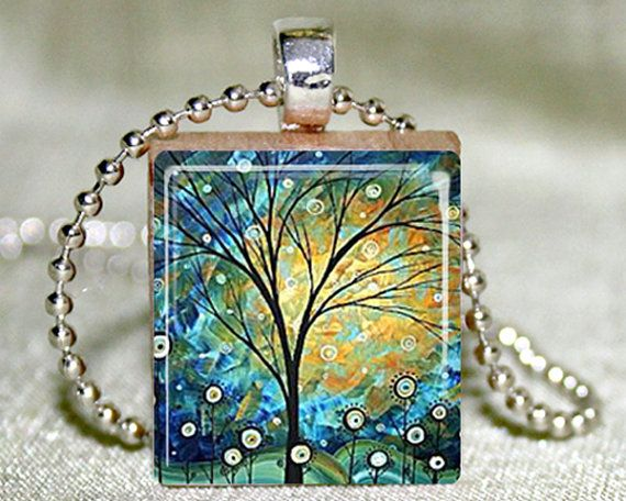 Scrabble Tile Jewelry - Scrabble Tile Necklace - Sunny Day Scrabble Tile Pendant with Necklace and Matching Gift Tin