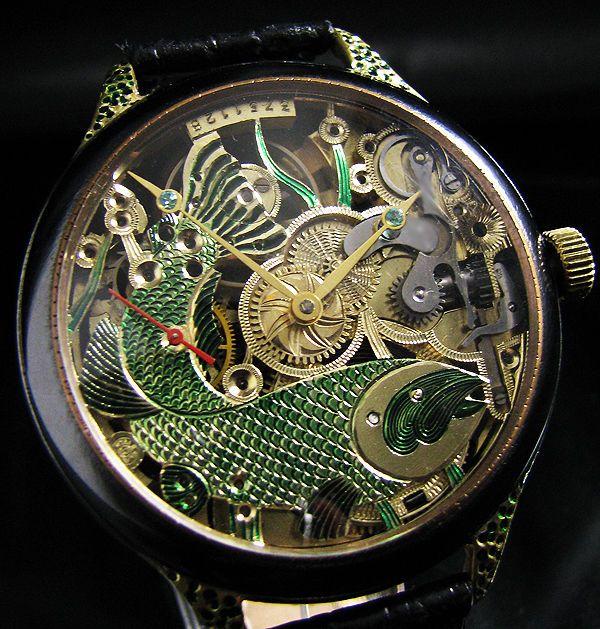 Omega skeleton 1924 art deco watch engraved big fish for Watch big fish