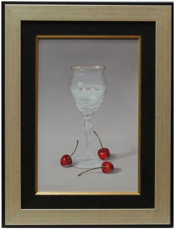 Casas : Glass. Medium: Oil on wood Measurements (cm): 43x33 Canvas measurements (cm): 30x20 Interior frame: Yes. We have before us a very decorative oil painting of a hyper-realist character with a great deal of skill, smooth colours and very decorative.  $416.82