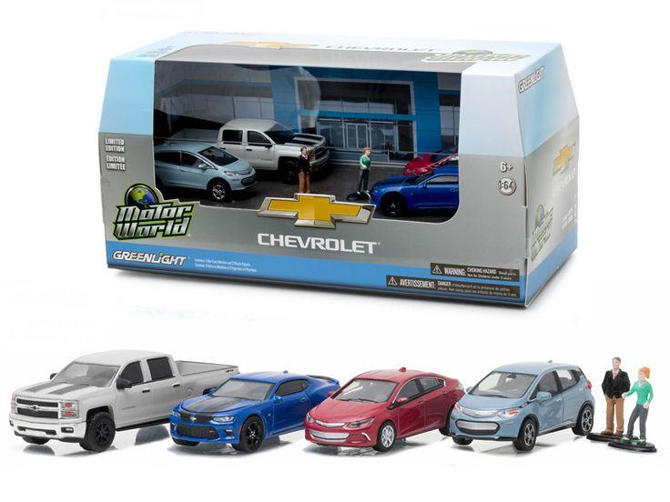 Motor World Diorama Set Modern Chevrolet Dealership 6pcs Set 1/64 Diecast Model Cars by Greenlight