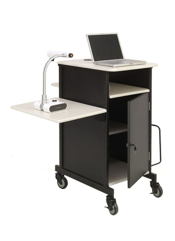 Oklahoma Sound Office College Church Jumbo Plus Presentation Cart With Storage Locking Cabinet 4 Rolling Casters
