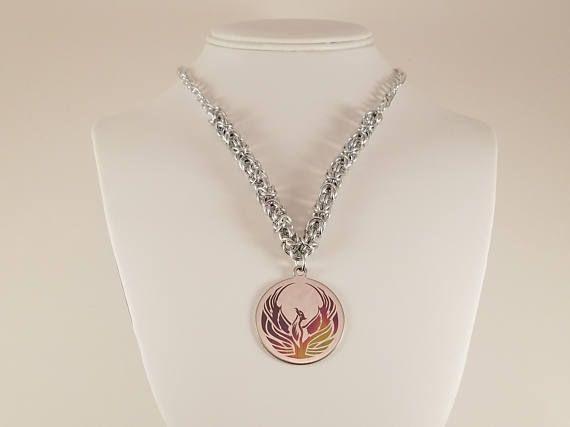 Phoenix Necklace / Phoenix Jewelry / Rainbow Phoenix Necklace / Phoenix Bird Necklace / Silver Phoenix Necklace / Silver Phoenix Jewelry